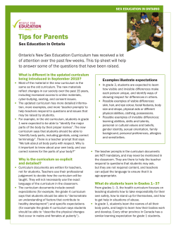 Tips for Parents - Parent Involvement Committee
