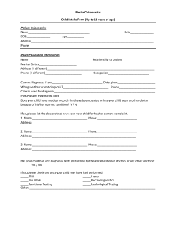 Pietila Chiropractic Child Intake Form (Up to 12 years of age) Patient