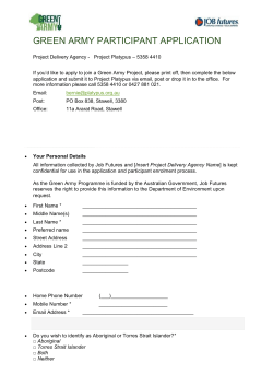 GREEN ARMY PARTICIPANT APPLICATION