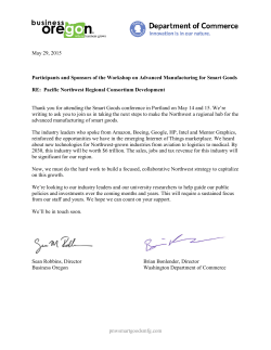 Letter from Directors - NSF Workshop on Advanced Manufacturing