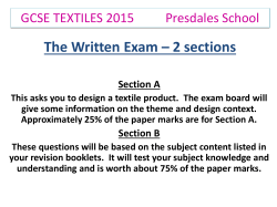 GCSE Textiles 2015: The written Exam (2 sections)