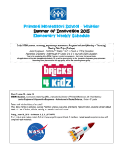 Whittier Summer of Innovation 2015 Elementary Weekly Schedule