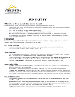 Sunscreen Information - Princeton Nassau Pediatrics