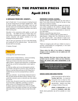 THE PANTHER PRESS April 2015 - Prince of Wales N Public School