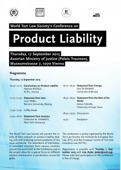 Product Liability Vienna 17 September 2015