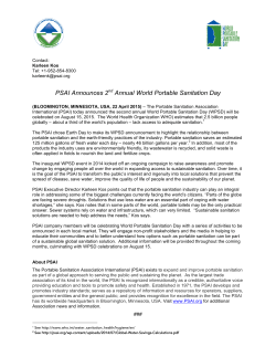 PSAI Announces 2nd Annual World Portable Sanitation Day