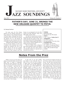 Notes From the Prez - Puget Sound Traditional Jazz Society