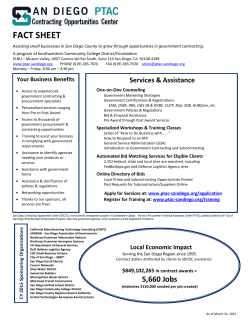 Fact Sheet - San Diego Contracting Opportunities Center