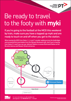 Be ready to travel to the footy with myki