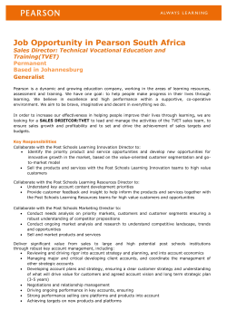 Job Opportunity in Pearson South Africa