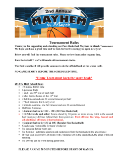 Tournament Rules - Pure Basketball