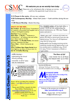 Church Chatter 07 June 2015 - Chapel Street Methodist Church