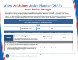 WIOA Quick Start Action Planner (QSAP) Youth