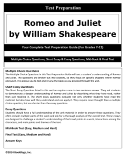 Romeo and Juliet - Test Preparation