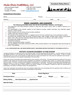 Horseback Trail Riding Waiver