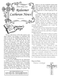 June News Bulletin - Redeemer Lutheran