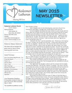 MAY 2015 NEWSLETTER - Redeemer Lutheran Green Bay