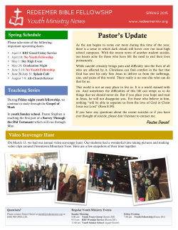 Youth Ministry News - Spring 2015