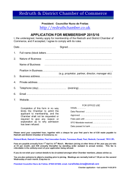 Application Form - Redruth & District Chamber of Commerce