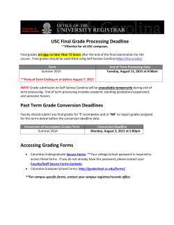 USC Final Grade Processing Deadline Past Term Grade