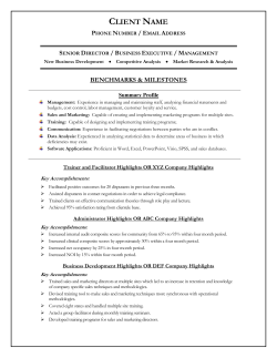 To View An Example of The Additional Career Packet