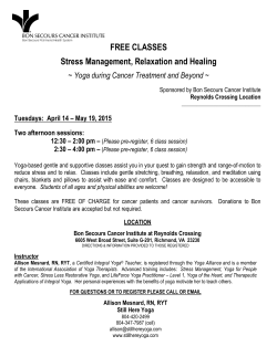 Free Stress-Management and Relaxation Classes for Cancer