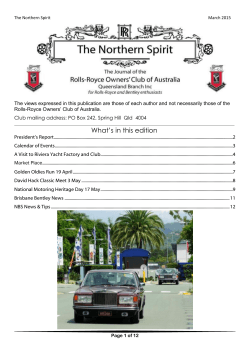 What`s in this edition - Rolls-Royce Owners` Club Of Australia