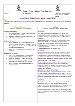Term 2 Overview - Rosary Primary School