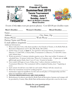 the Tennis Tournament Registration Form