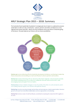 ARLF Strategic Plan Summary - Australian Rural Leadership