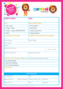Birthday Party Booking Form