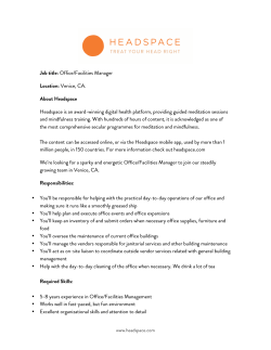 Office/Facilities Manager Location: Venice, CA. About Headspace