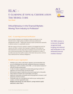 ELAC - Fact Sheet - ACI The Financial Markets Association