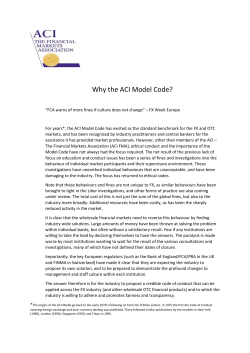 Why the ACI Model Code? - ACI The Financial Markets Association
