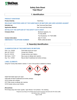 Safety Data Sheet Tidal Wave® 1. Identification 2