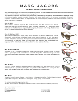 FALL/WINTER 2014/2015 EYEWEAR COLLECTION