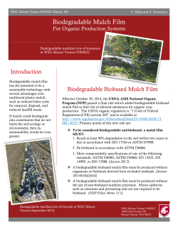 Biodegradable Mulch Film - The University of Tennessee Institute of