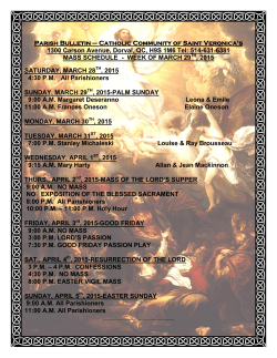 MASS SCHEDULE - St. Veronica`s Parish
