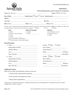 Patient Registration Form - Salmon Falls Family Healthcare