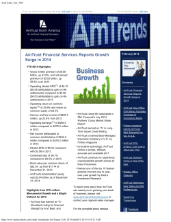AmTrust Financial Services Reports Growth Surge in 2014