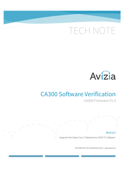 AVZ-CA300-DOC-TN-03 CA300 Software Verification_05152015_732