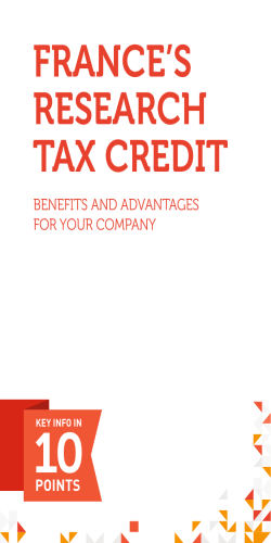 FRANCE`S RESEARCH TAX CREDIT