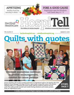 Quilts with quotes - The William W. Backus Hospital