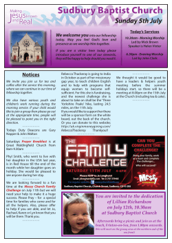 notices in pdf format - Sudbury Baptist Church
