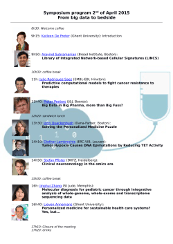 Symposium program 2nd of April 2015 From big data to bedside
