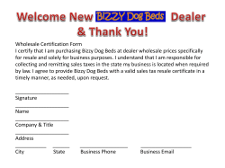 Wholesale Certification Form I certify that I am