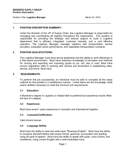 Page 1 1. POSITION DESCRIPTION SUMMARY: Under the direction