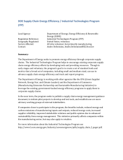 DOE Supply Chain Energy Efficiency / Industrial Technologies