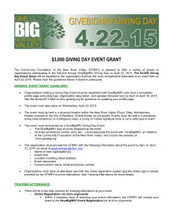 3000 giving day event grant - Community Foundation of the New