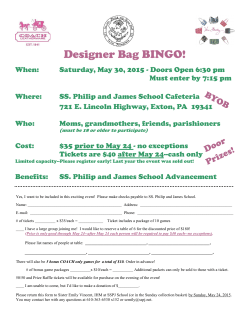 Bingo Flyer - SS. Philip & James School